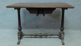 A 19th century Continental flame mahogany drop flap tea table. H.70 W.92 D.91cm