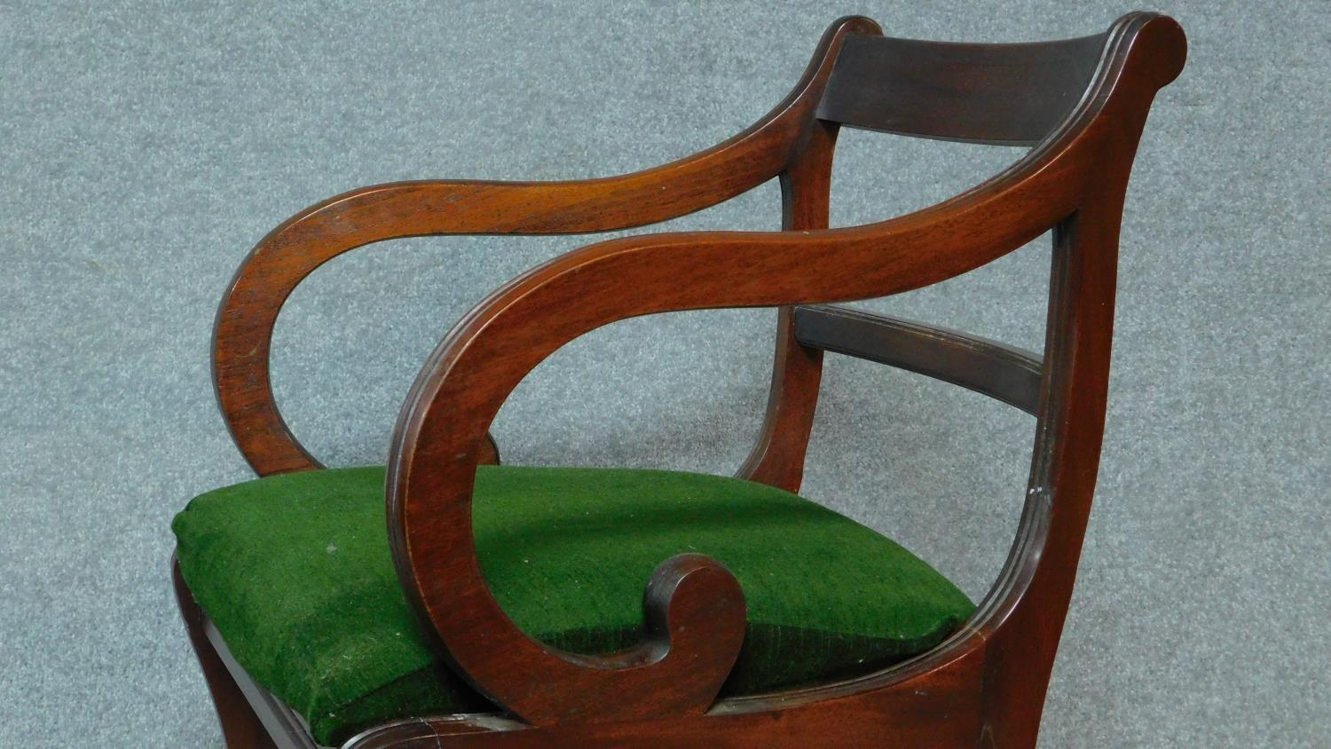 A set of five Regency mahogany dining chairs on sabre supports together with a Regency style - Image 6 of 6