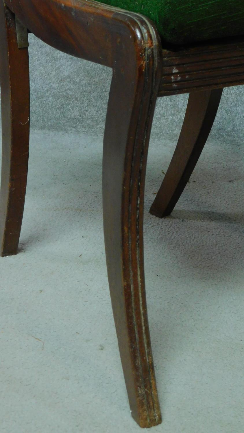 A set of five Regency mahogany dining chairs on sabre supports together with a Regency style - Image 5 of 6