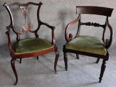A William IV mahogany open armchair and another similar late Victorian example. H.90cm