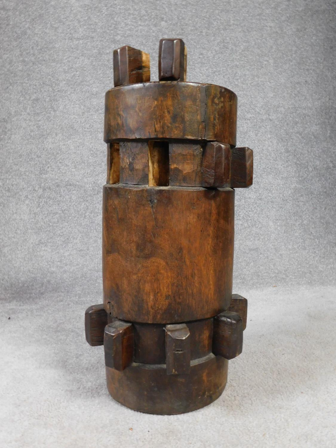An antique hardwood stool converted from a ship's capstan. H.59 W.27cm - Image 3 of 3