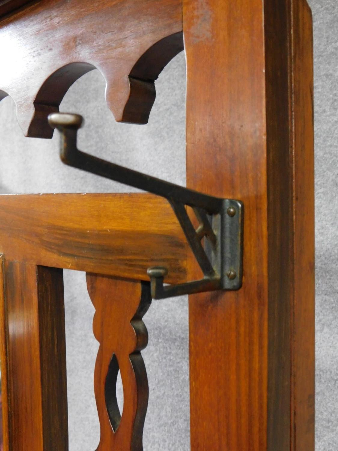 A 19th century Art Nouveau walnut hallstand with central mirror above glove compartment with - Image 4 of 6