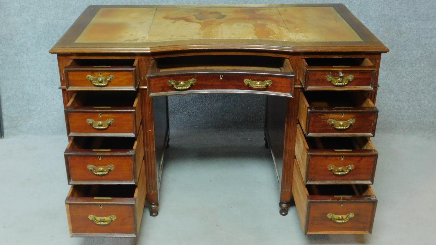 A late 19th century mahogany pedestal desk with leather inset top above an arrangement of nine - Image 3 of 7