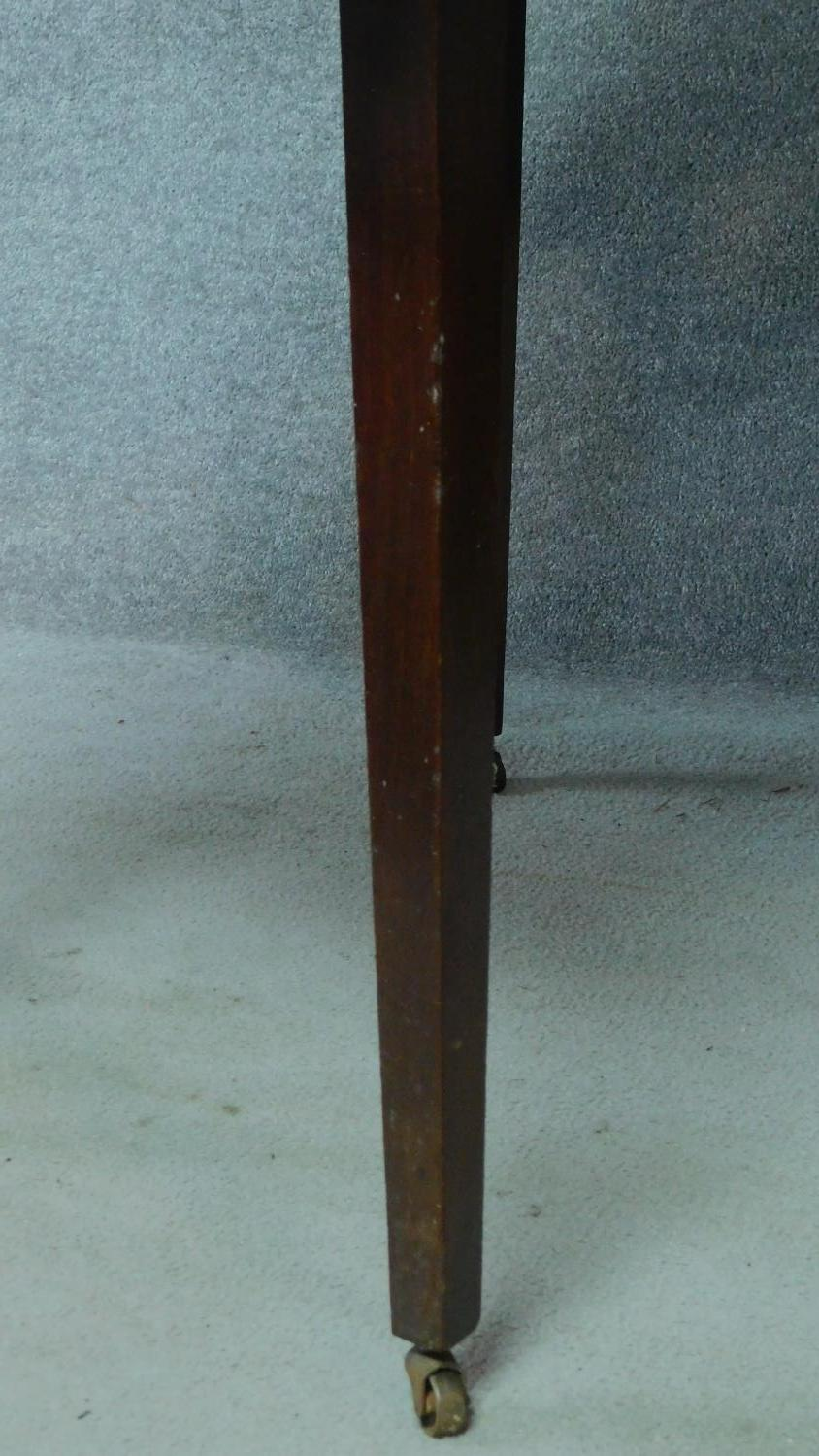 A Georgian mahogany D-end extending dining table on square tapering supports. H.76 L.181 W.55cm ( - Image 4 of 6