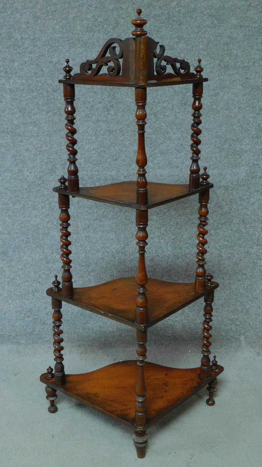 A Victorian carved walnut four tier corner whatnot. H.121cm - Image 2 of 6
