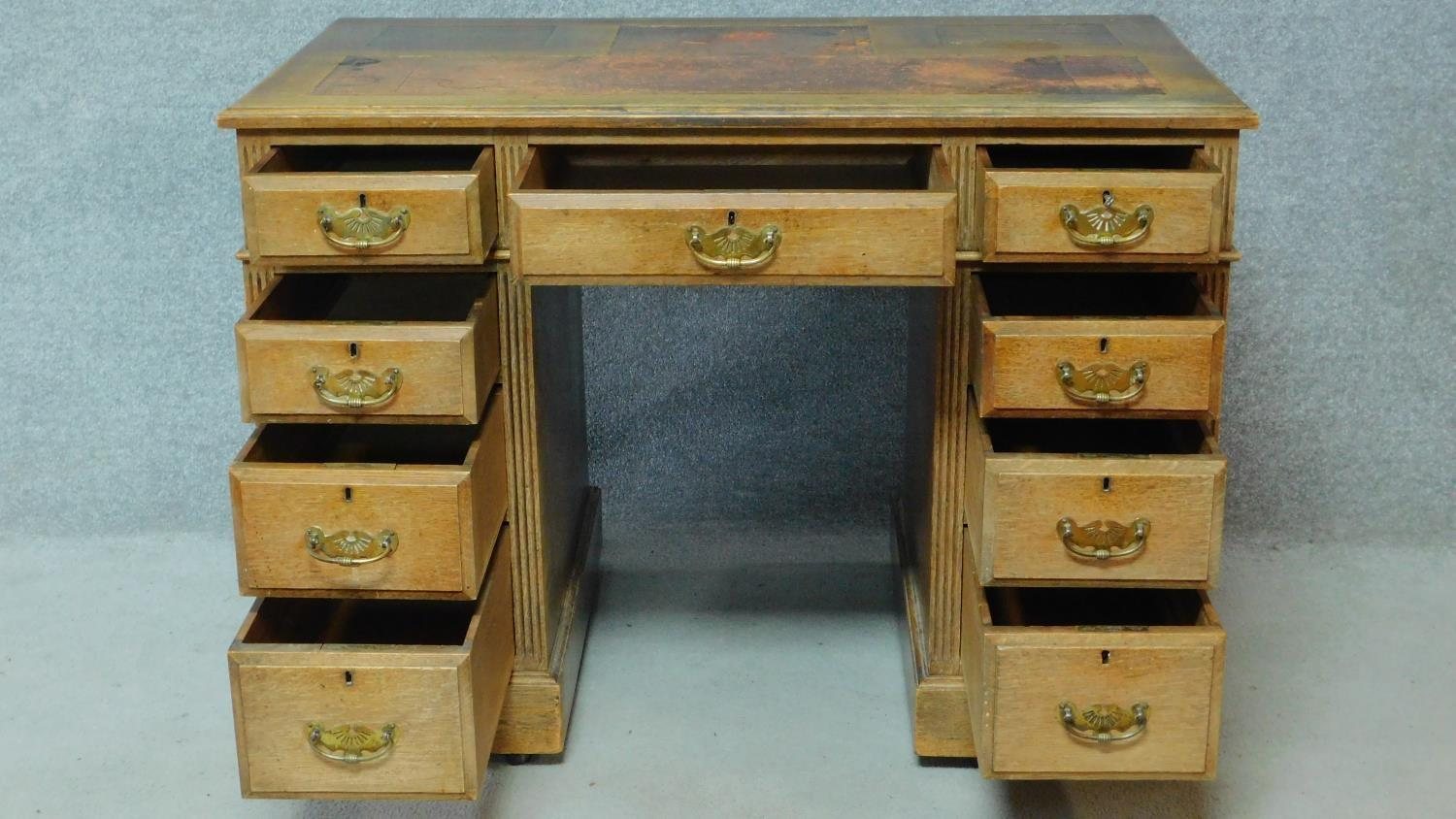 A late 19th century oak pedestal desk with leather inset top above an arrangement of nine drawers - Image 3 of 5