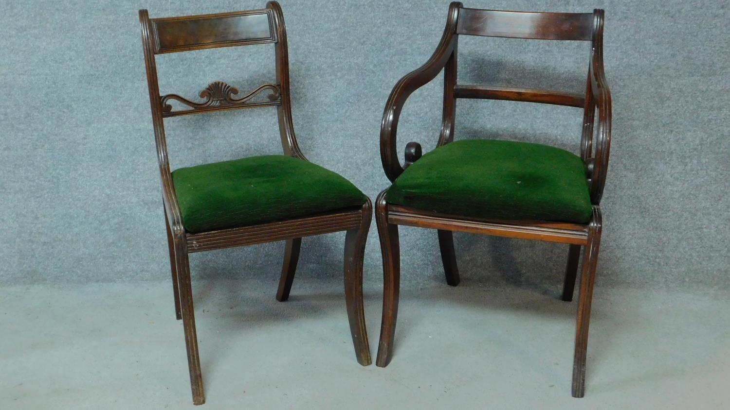 A set of five Regency mahogany dining chairs on sabre supports together with a Regency style - Image 2 of 6