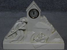 A French Art Deco white ceramic mantle clock signed G. Chevalier to the back for George Chavalier