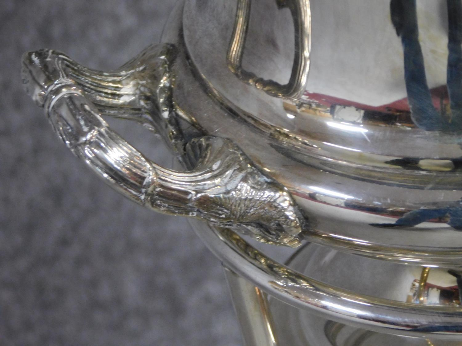 A silver plated campana form wine cooler on stand. H.82cm - Image 4 of 5