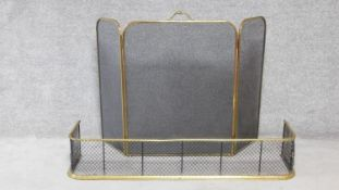 An antique brass mesh fender and brass hinged spark guard with carrying handle. H.82xW.122cm