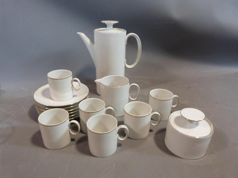 A white porcelain Thomas Germany gilded coffee set. H 22.5cm.