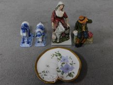 A collection of porcelain figures and a plate. A Royal Doulton 'Owd William' figure, an early hand