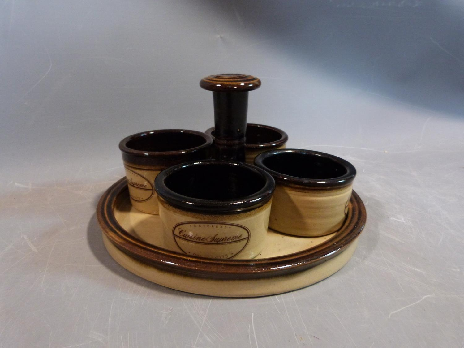 a studio pottery lidded pot and ramakin holder. The lidded two handled pot has an impressed cross - Image 11 of 14