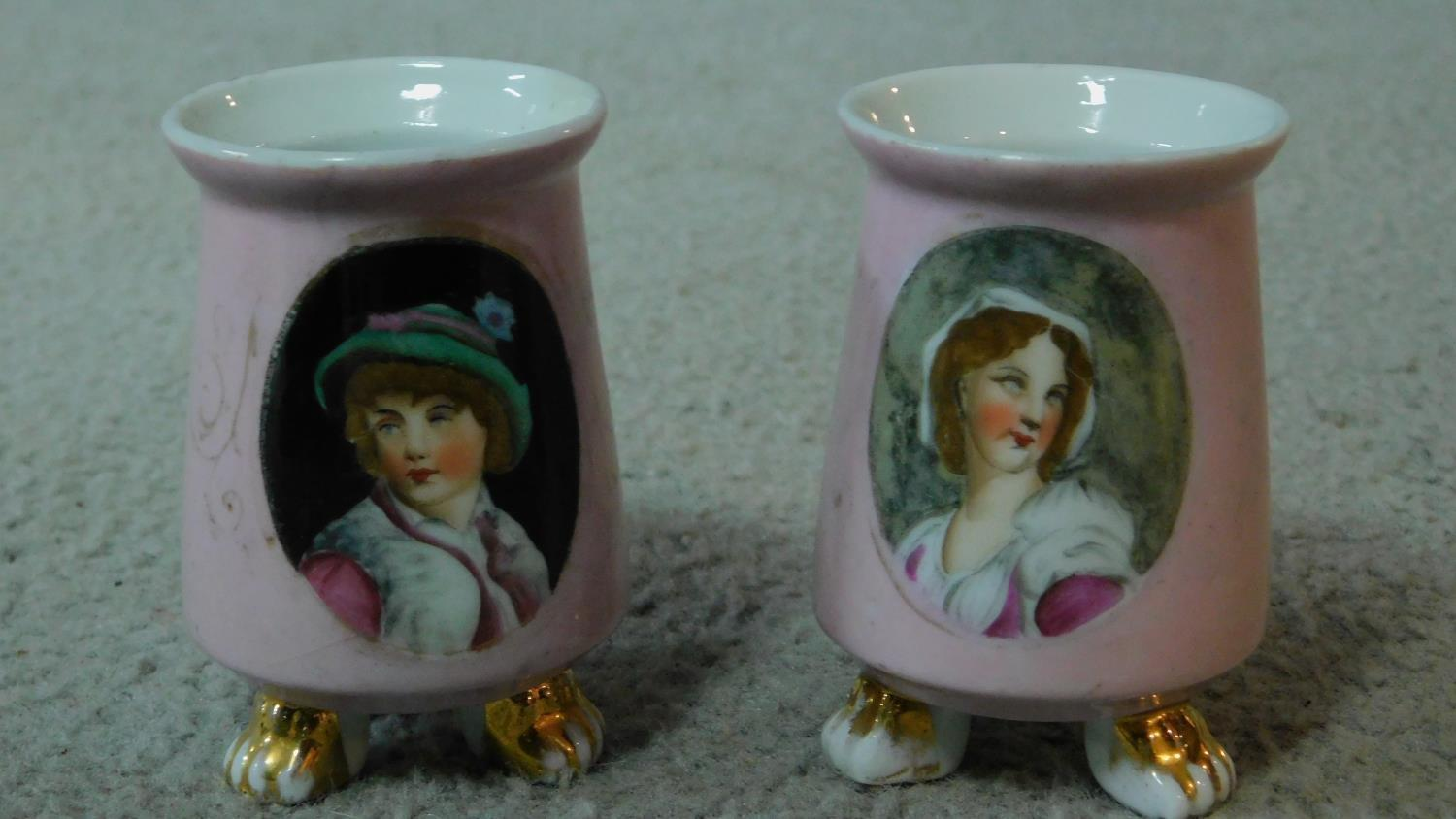 A collection of ceramics. Including a pair of pink transferware salts with a portrait of a man and a - Image 2 of 8