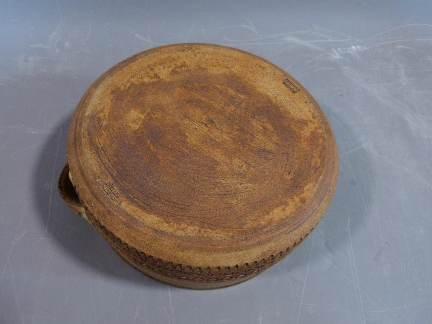 a studio pottery lidded pot and ramakin holder. The lidded two handled pot has an impressed cross - Image 7 of 14