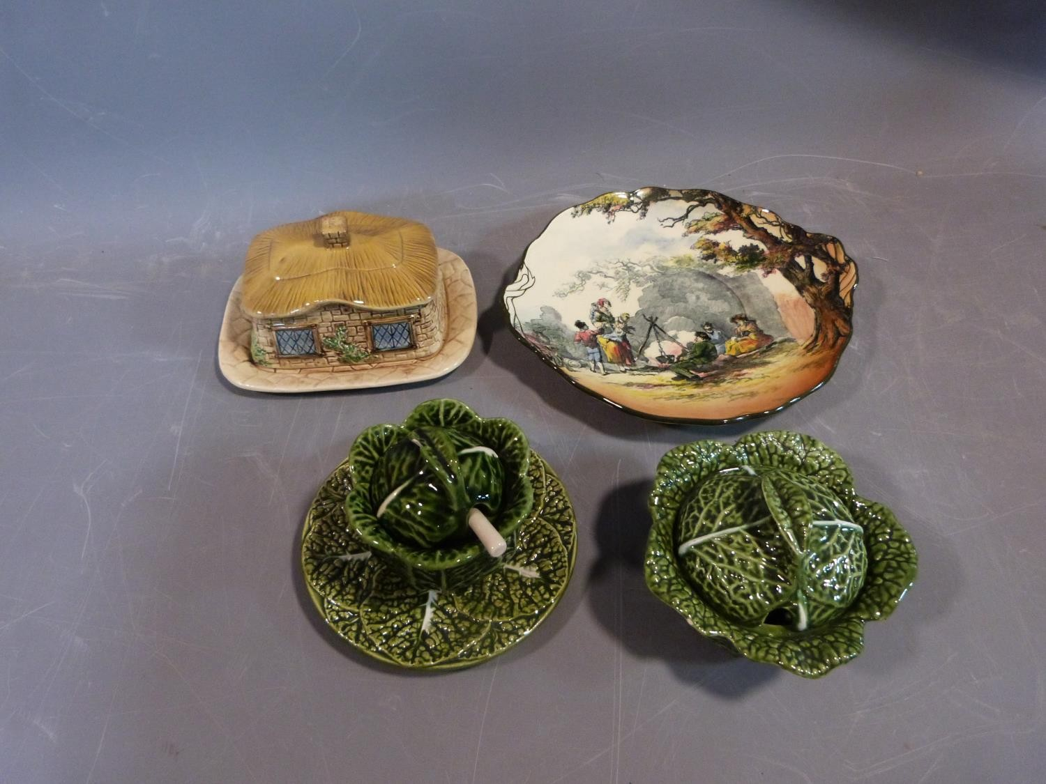 Collection of ceramics. Including a sylvac pottery butter dish in the form of a thatched cottage,