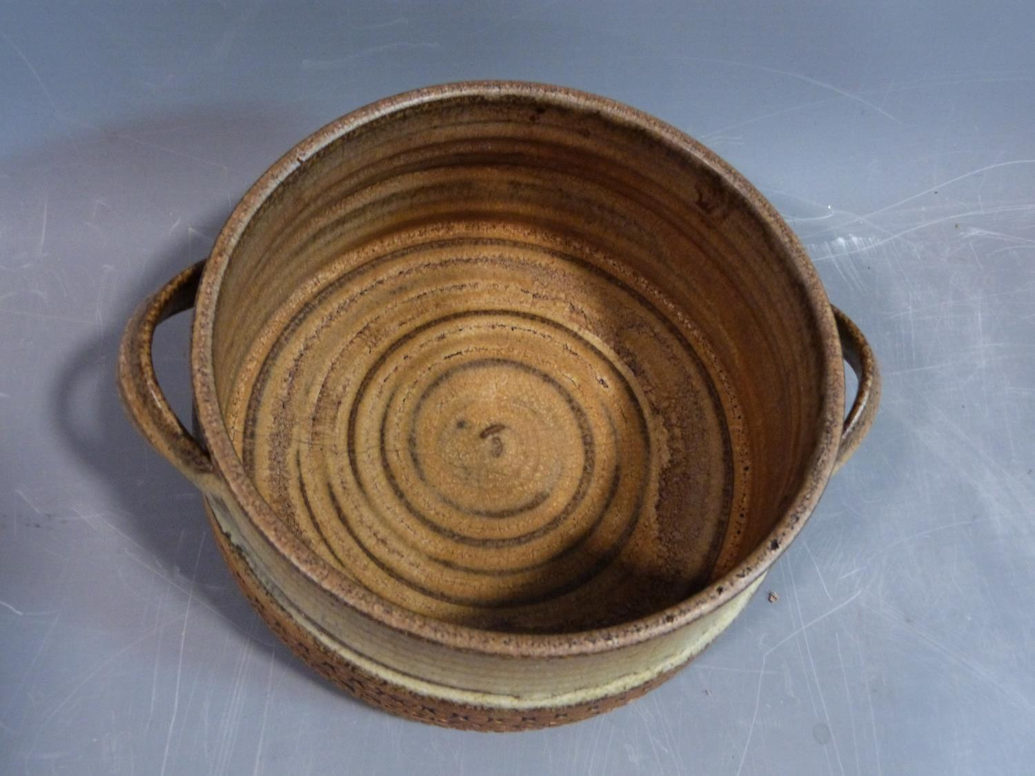 a studio pottery lidded pot and ramakin holder. The lidded two handled pot has an impressed cross - Image 4 of 14
