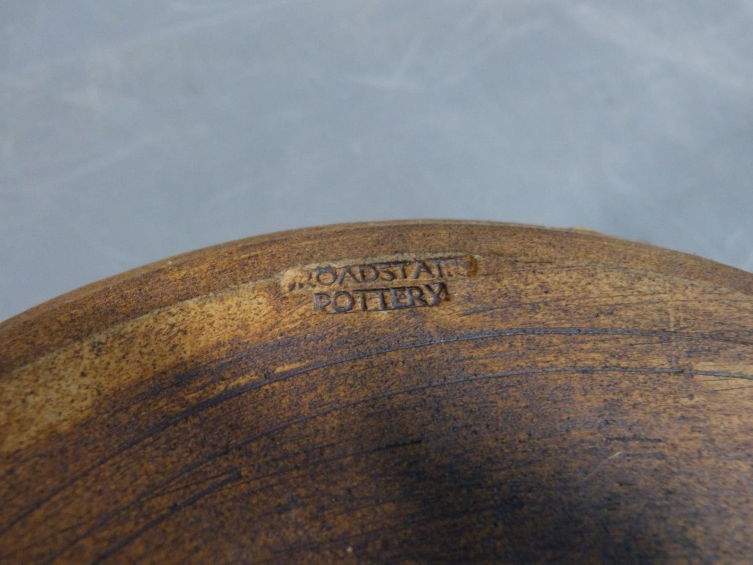 a studio pottery lidded pot and ramakin holder. The lidded two handled pot has an impressed cross - Image 9 of 14