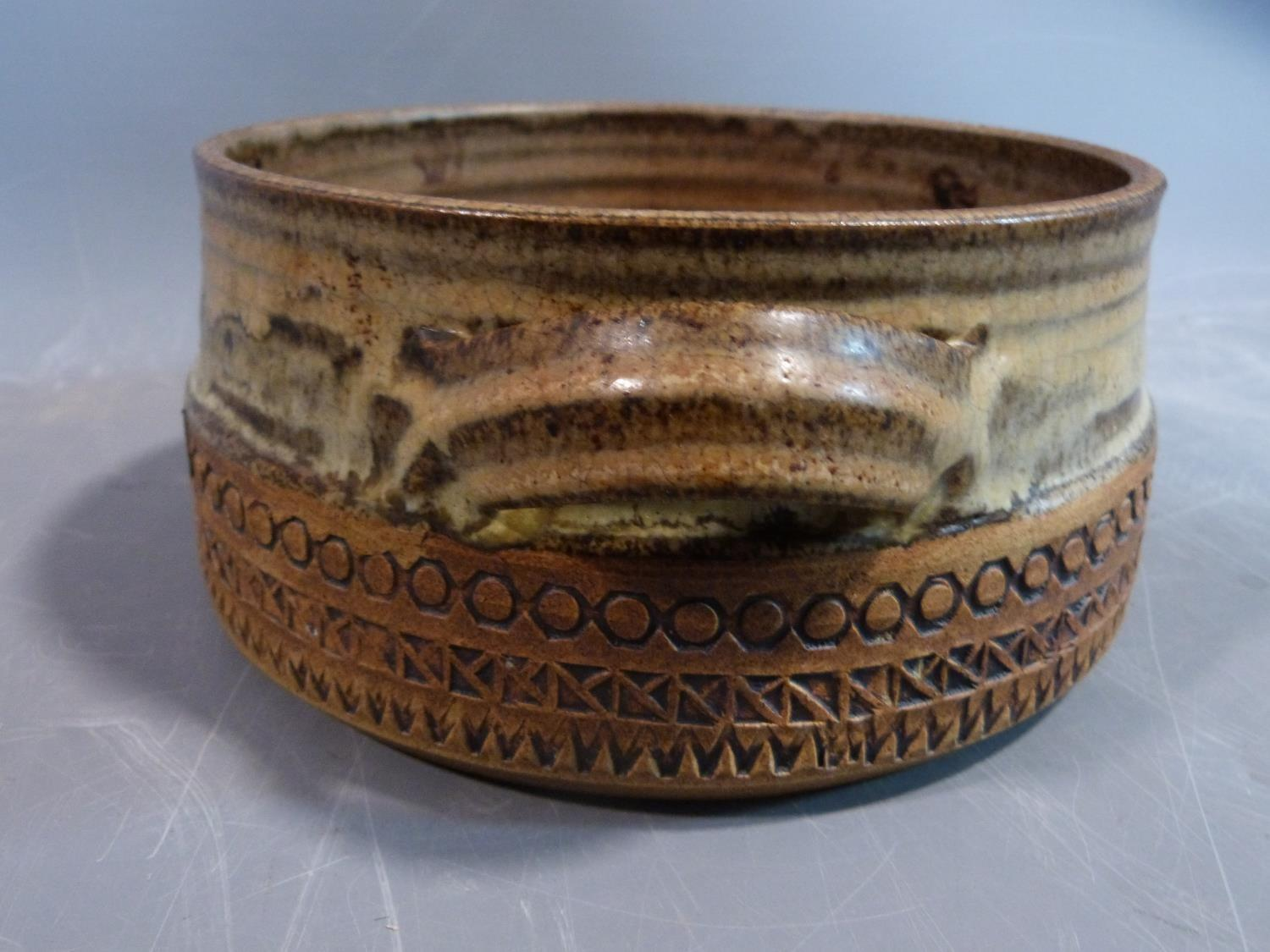 a studio pottery lidded pot and ramakin holder. The lidded two handled pot has an impressed cross - Image 10 of 14