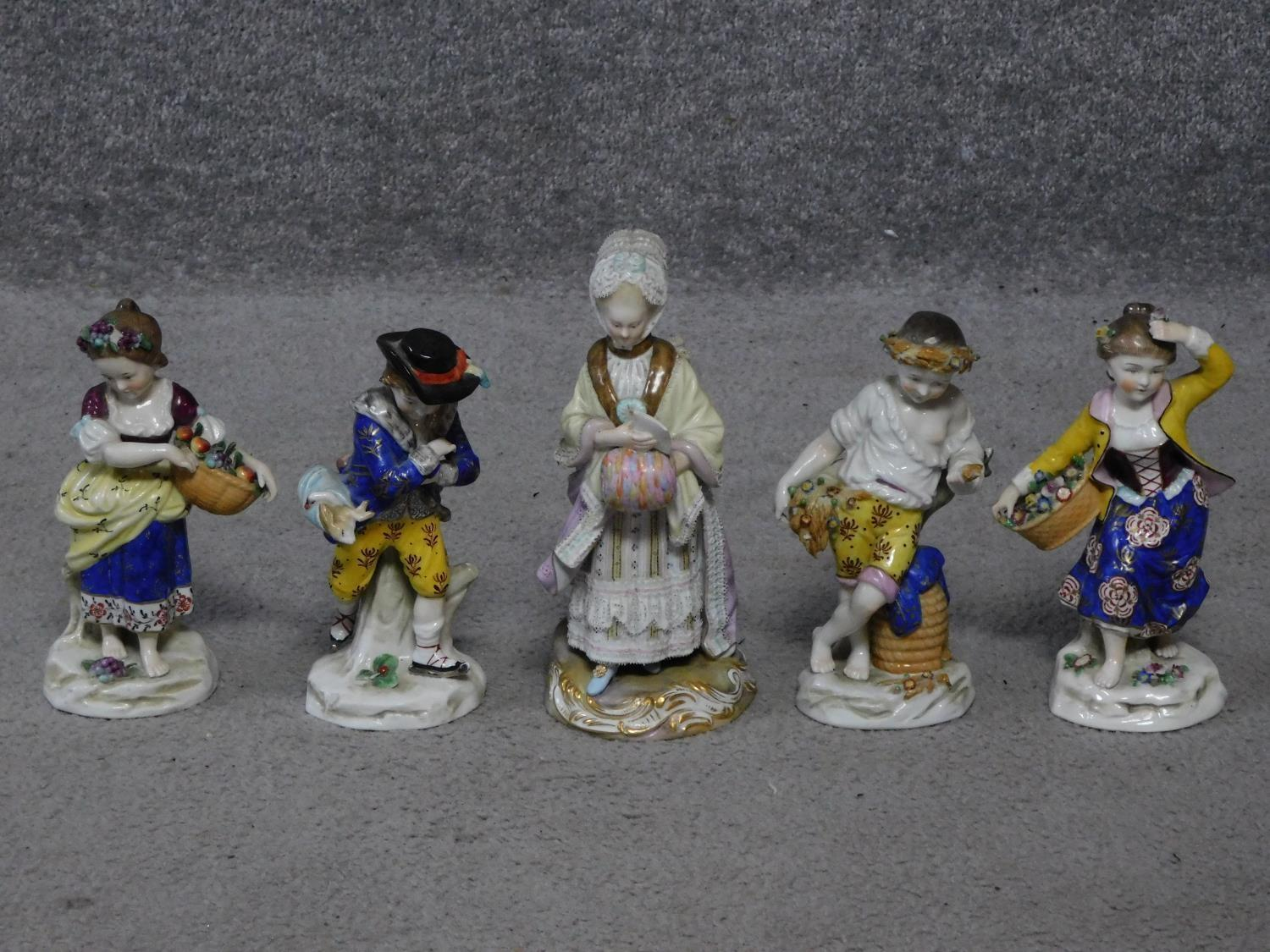 Four antique hand painted Chelsea Sampson style figures, with gold anchor mark to back.