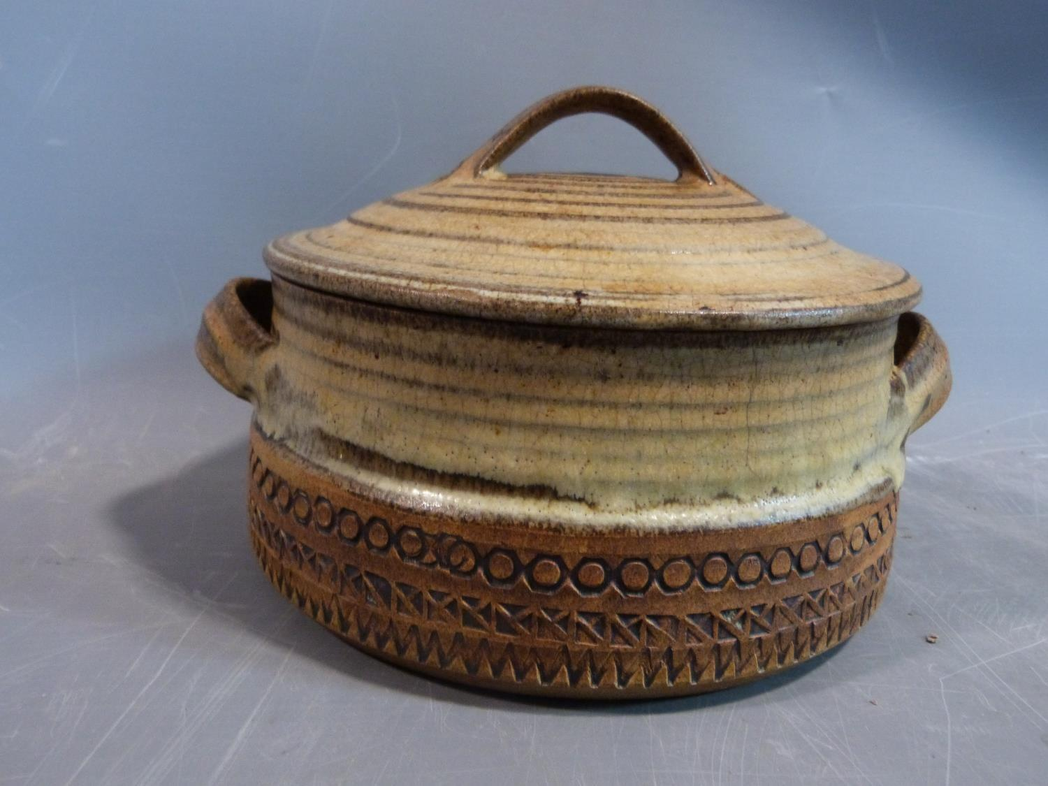 a studio pottery lidded pot and ramakin holder. The lidded two handled pot has an impressed cross - Image 2 of 14