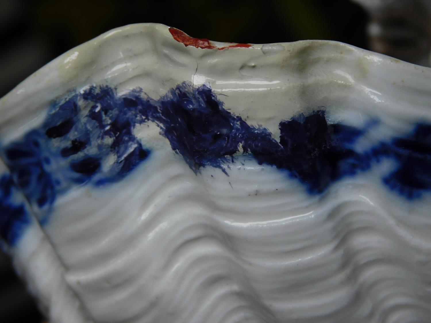 A pair of meissen blue onion pattern porcelain sweet meat dishes. One of a lady and one of a cross - Image 7 of 7