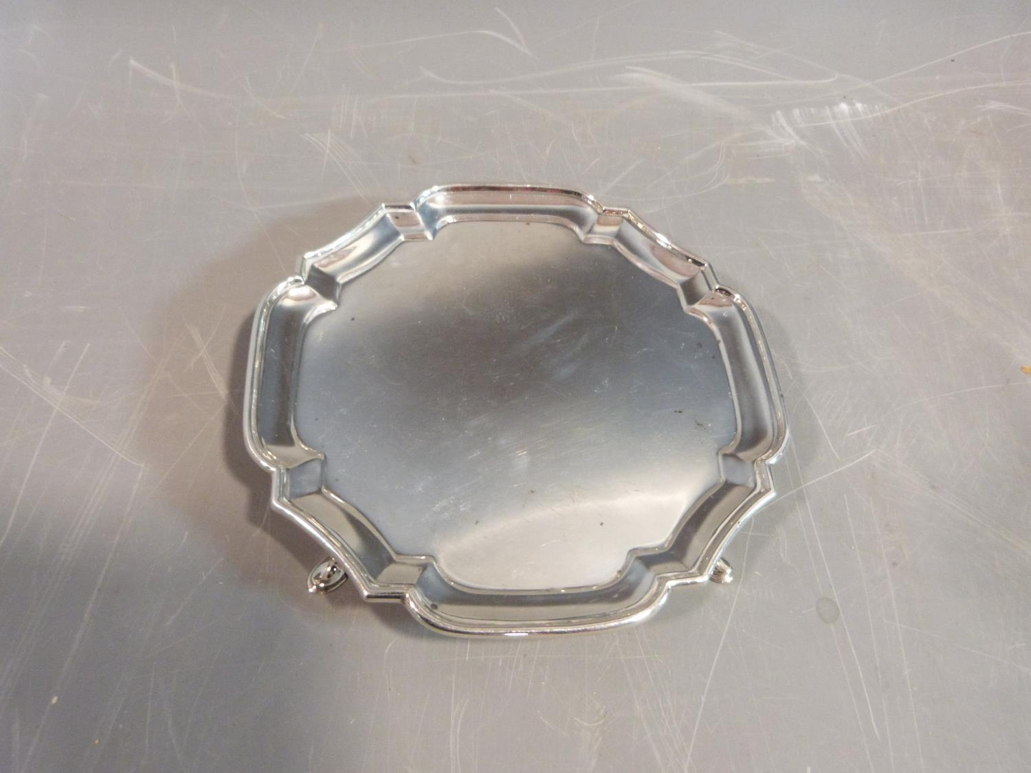 Silver stylized octagonal four footed mint dish. Hallmarked SJP for Solomon Joel Phillips, London,