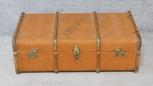 A teak bound and canvas covered Kirkwood travelling trunk fitted with lift out tray. H.30xW.90xD.