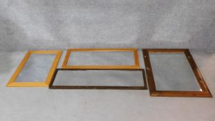 Four framed rectangular wall mirrors. H.78xW.107cm (largest)