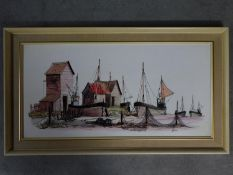A framed acrylic and ink wash on board of a fishing village, signed Fisher. 106x60cm