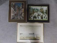Three framed and glazed prints. Two from paintings by L. S. Lowry. The other depicting a street