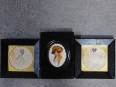A pair of framed and glazed sketches of a nobleman and woman together with a framed and glazed print