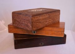 A Regency mahogany and brass inlaid instruments case, another similar and an Indian carved teak