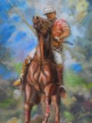 A framed oil on canvas of a polo player mounted on his horse, by Robert Barnete. 62x42cm