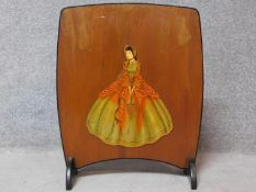 A 1950's vintage fireguard with painted decoration. 65x53cm