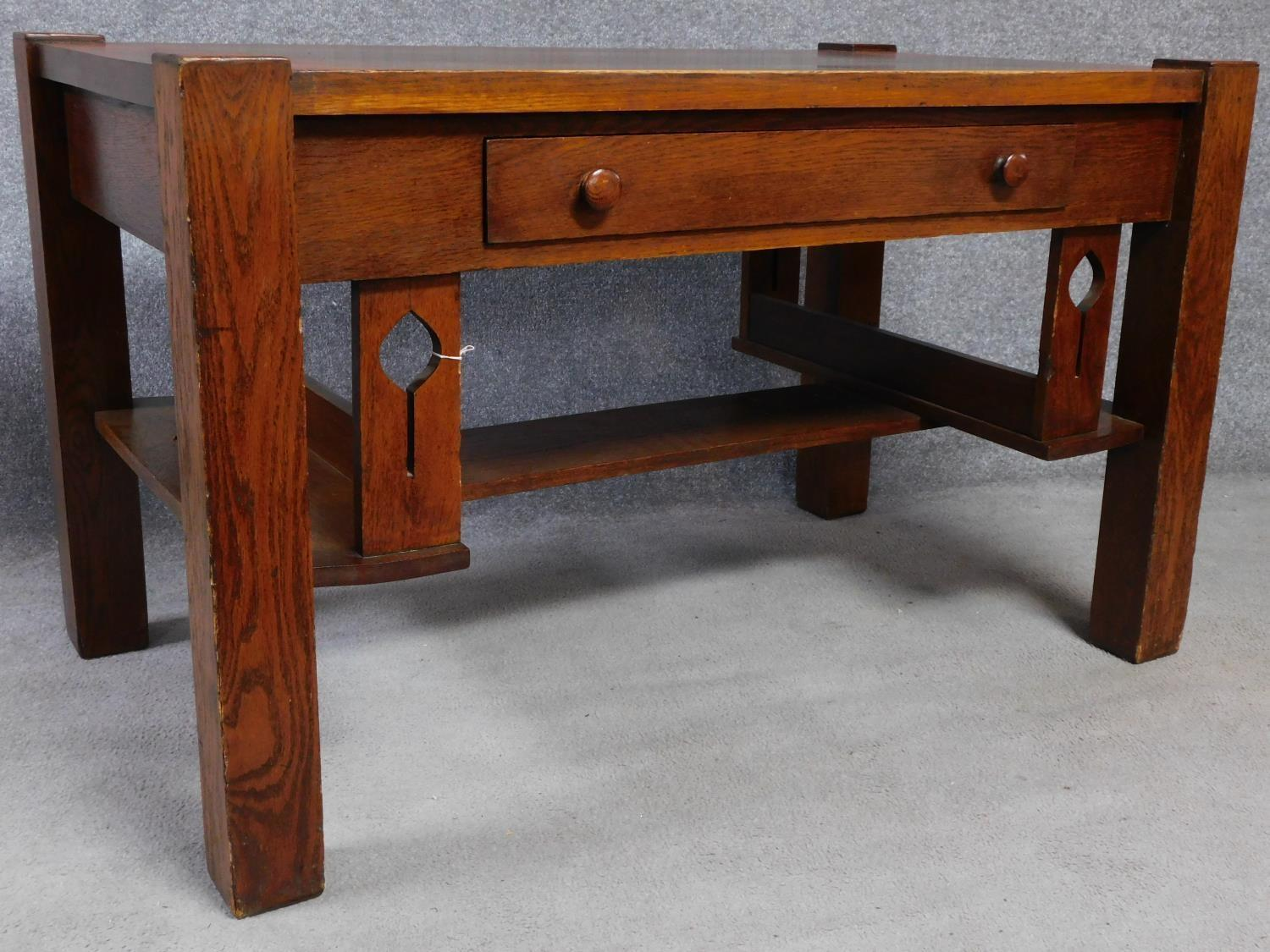 An American Arts and Crafts Mission style oak desk. Fitted with central frieze draw with book - Image 2 of 6