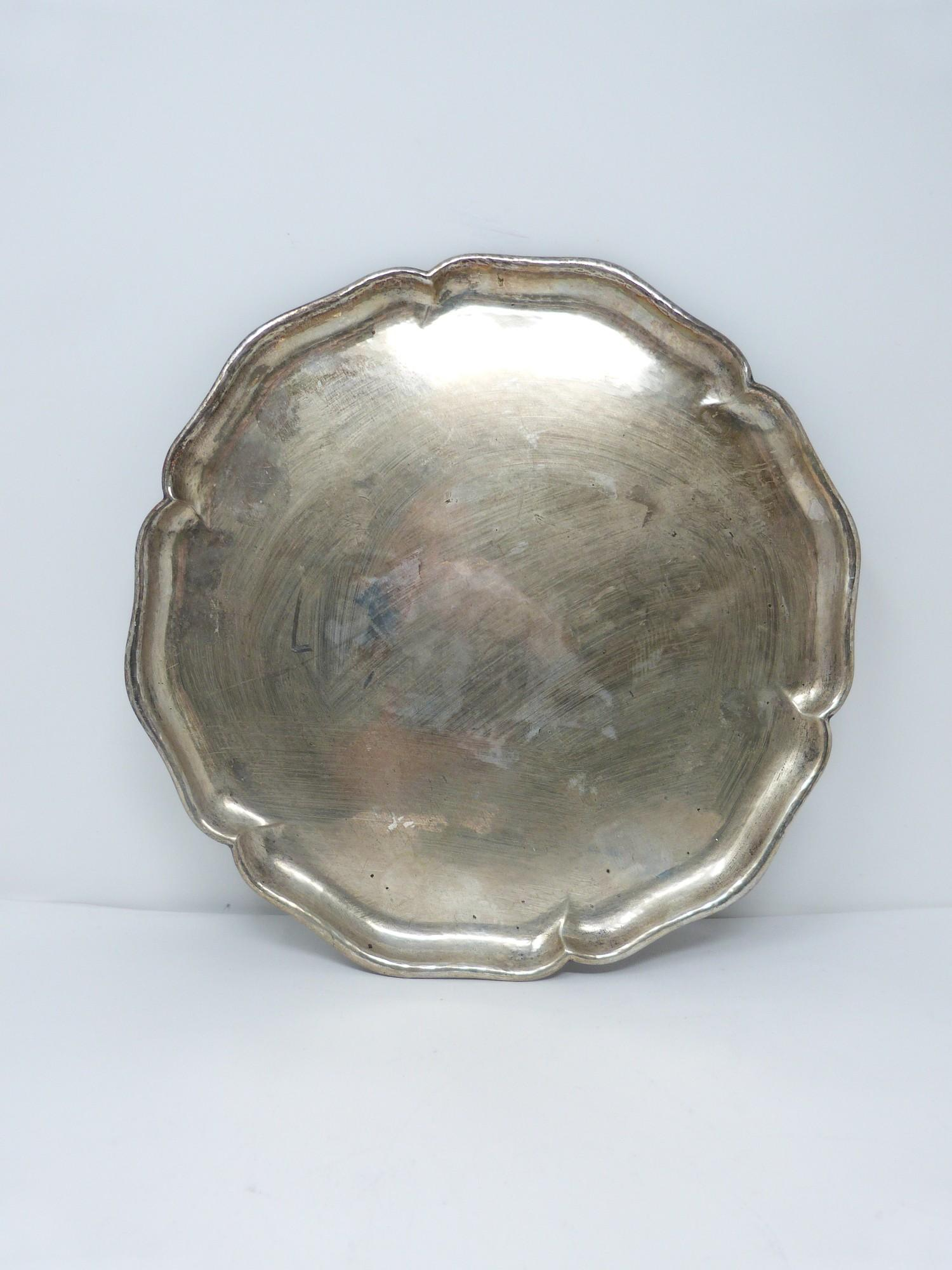 A German silver tray with scalloped edge. Stamped to the base with German hallmarks, 830S.