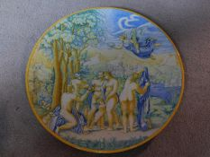 An antique Italian Majolica 'Istoriato' hand painted Charger, Continental Revival, c.1800. Signed