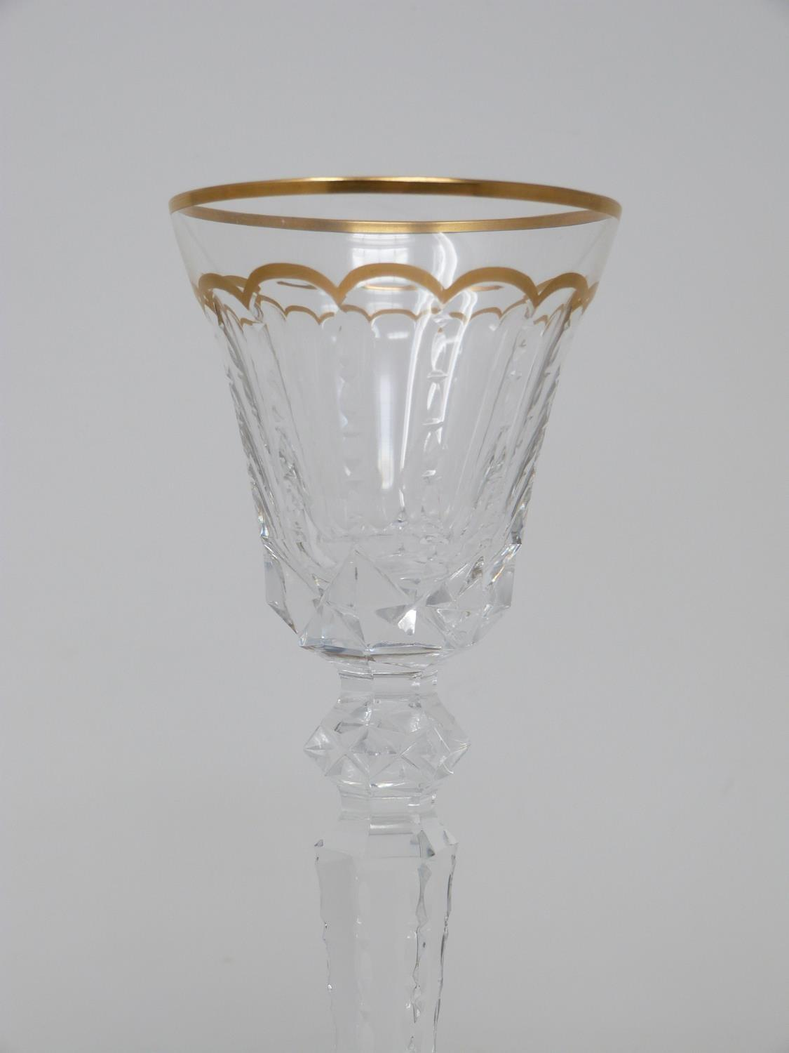 A set of eight St Louis crystal sherry glasses, with gilded scalloped detailing and gilded edge to - Image 3 of 4