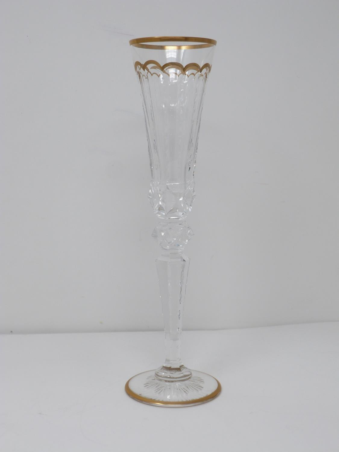 A set of ten St Louis Excellence crystal champagne glasses,with gilded scalloped detailing and - Image 3 of 6