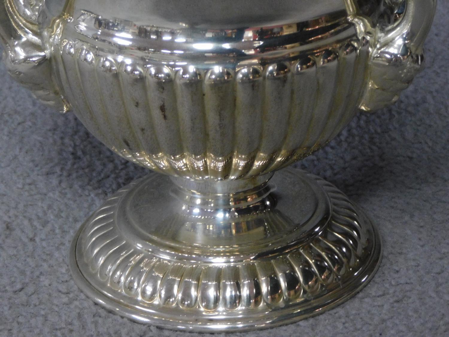 A pair of antique Old Regency Sheffield silver plated wine coolers by Henry Wilkinson and Co. with - Image 4 of 6