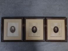 Three Victorian framed and glazed mounted photos of famous British explorers. Captain Richard