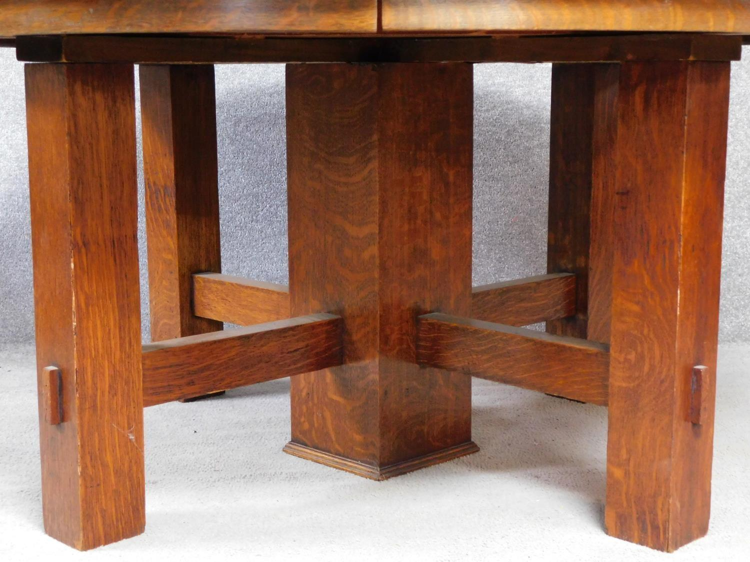 An American Arts and Crafts Mission style oak extending table with four extra leaves. H.72 W.249 D. - Image 4 of 7