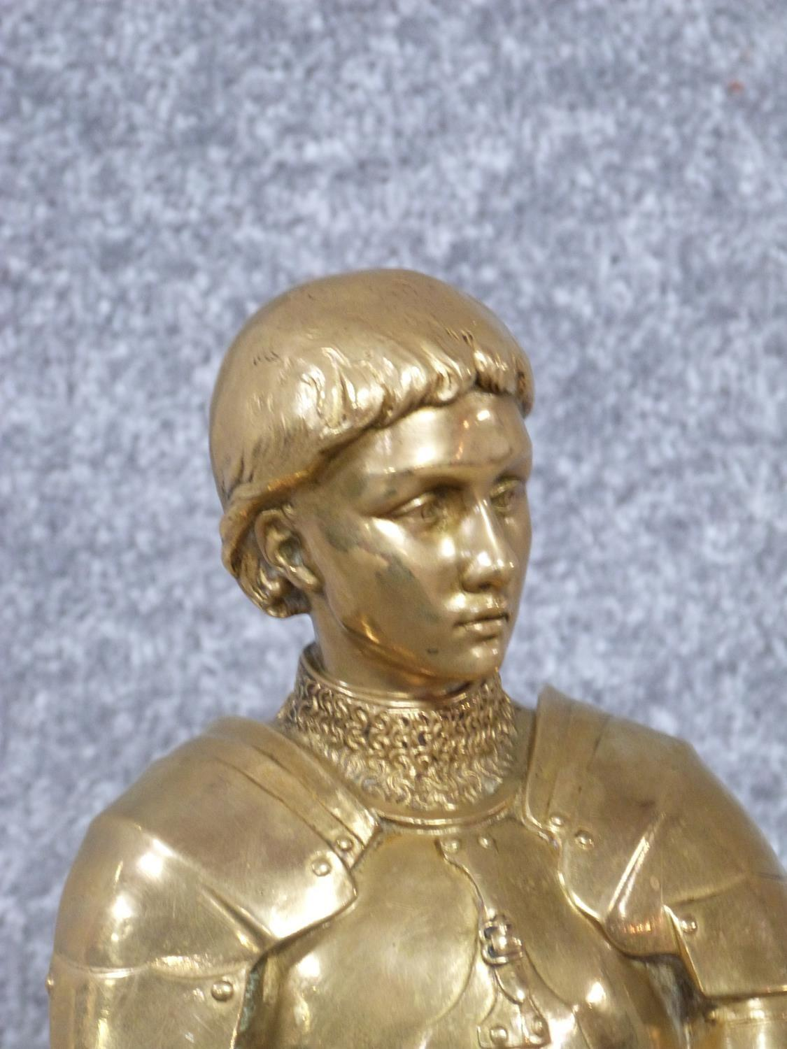 A Barrias gilt bronze Joan of Arc statue. Louis Ernest Barrias (French, 1841-1905), a gilded - Image 3 of 13