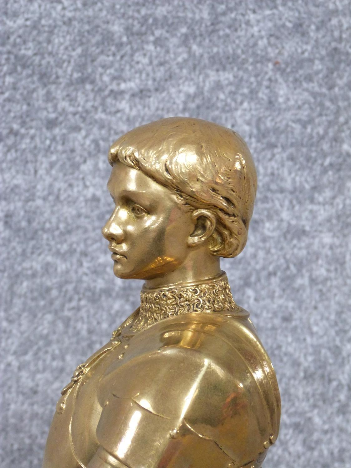 A Barrias gilt bronze Joan of Arc statue. Louis Ernest Barrias (French, 1841-1905), a gilded - Image 4 of 13
