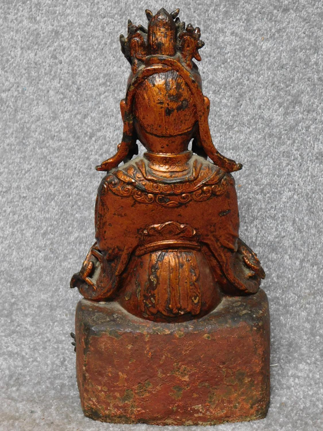 Possibly Ming dynasty Chinese gilt lacquered bronze seated figure of Guanyin. From a private - Image 6 of 6