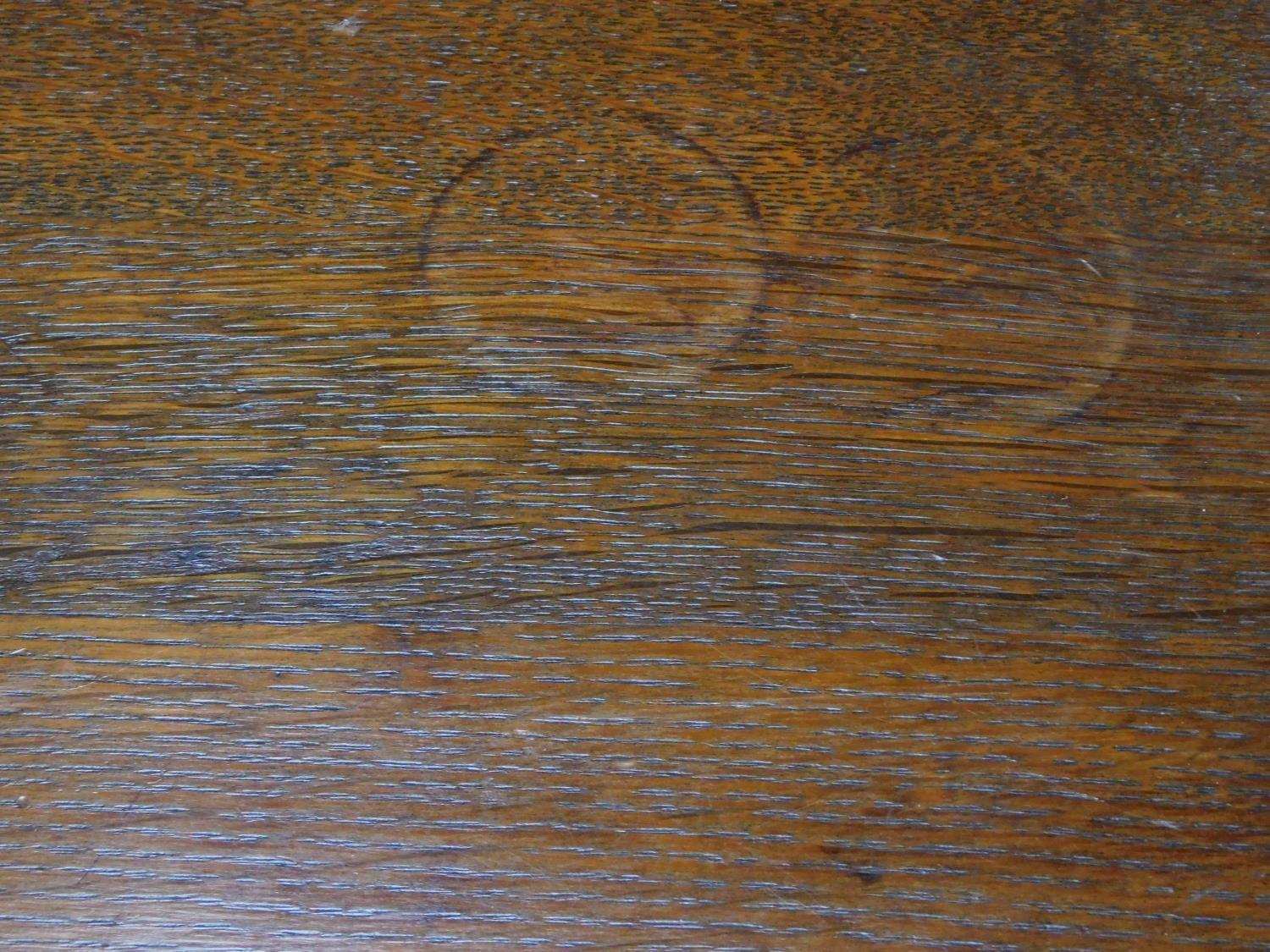 An American Arts and Crafts Mission style oak desk. Fitted with central frieze draw with book - Image 6 of 6