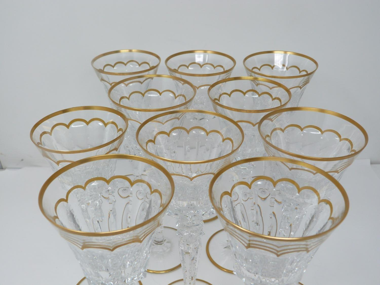 A set of ten St Louis Excellence crystal wine glasses, with gilded scalloped detailing and gilded - Image 2 of 5