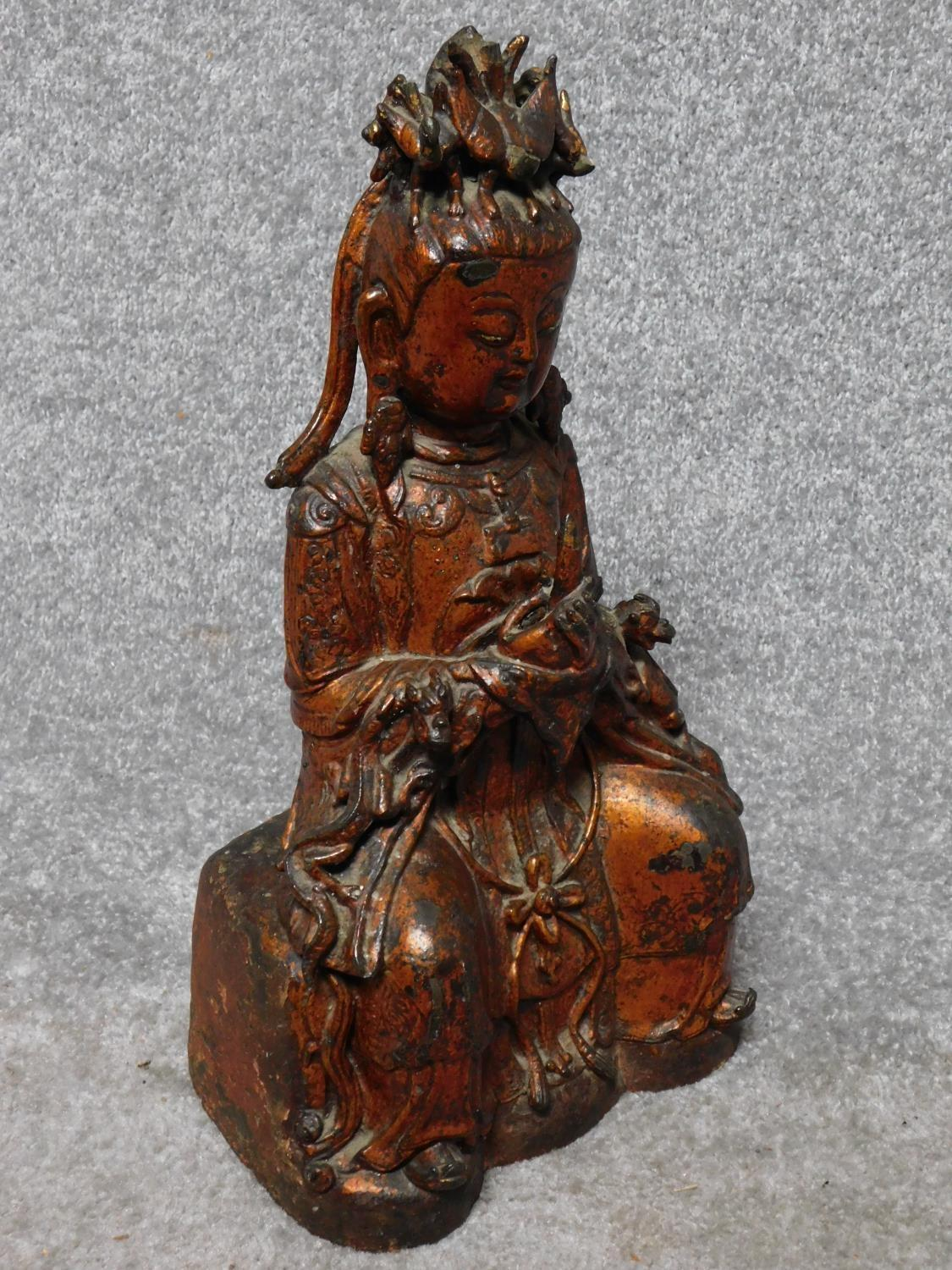 Possibly Ming dynasty Chinese gilt lacquered bronze seated figure of Guanyin. From a private - Image 2 of 6