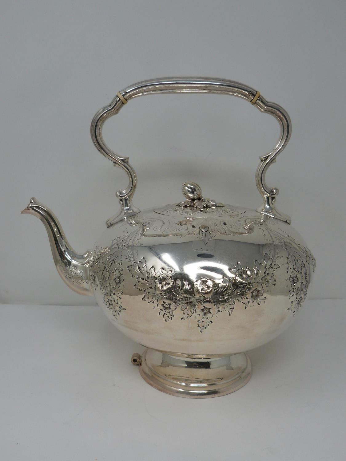An antique white metal and ivory spirit kettle and stand. The kettle has a flower bud finial and - Image 15 of 17